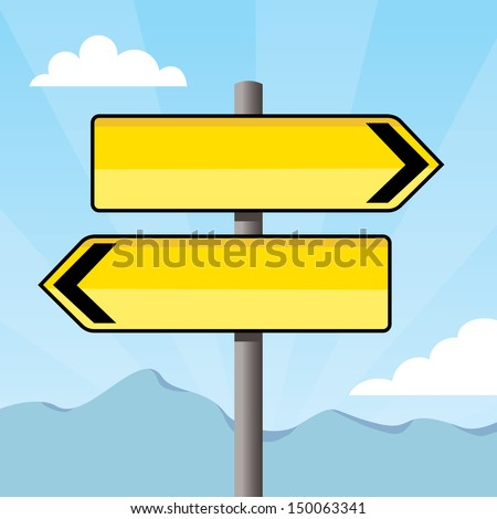 empty yellow direction signs pointing opposite directions - stock vector