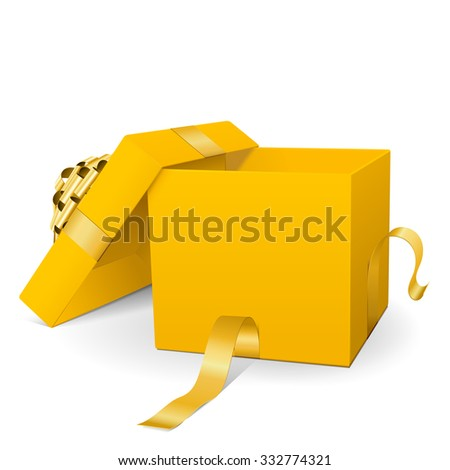 Empty Yellow Vector Gift Box Icon with Golden Package Ribbon Isolated on White Background - For Christmas Season, Easter Season, Valentines Day and Birthday Greeting Cards - Present with Open Lid - stock vector
