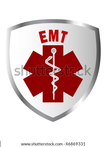 EMT sign on shield or patch - stock vector