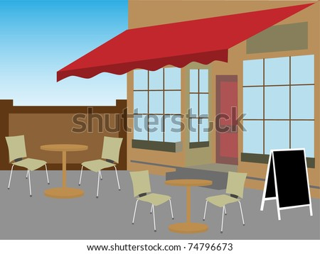 Enclosed cafe courtyard chairs table daytime editable vector illustration