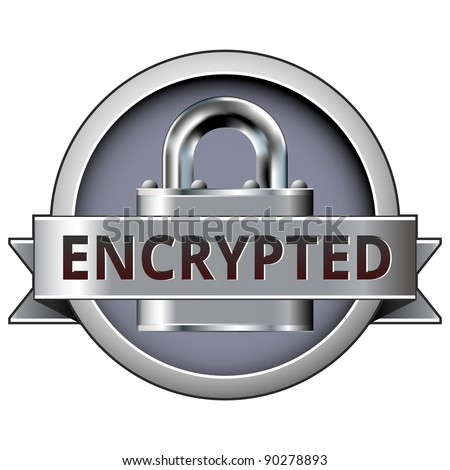 Encrypted vector button on stainless steel lock background - stock vector