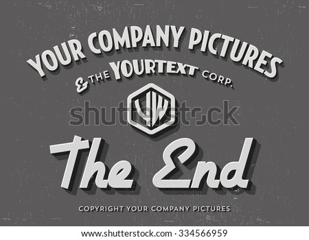 "End Credits ""The End"" Title Vector Background"