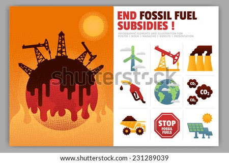 End Fossil Fuel Subsidies Illustration and Infographic Element - stock vector