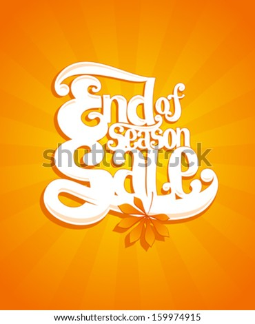 End of autumn season sale typographic vector illustration