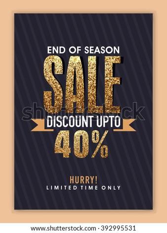 End of Season Sale Banner, Sale Poster, Sale Flyer, Sale Vector. Discount Upto 40%, Vector illustration. - stock vector