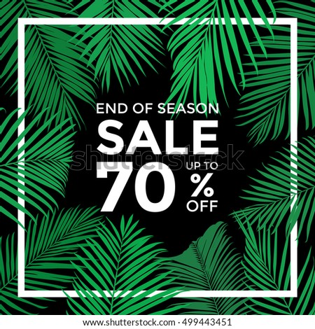 End of season sale banner vector, Plam leaves with with border concept