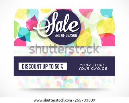 End of Season Sale, website header or banner set decorated with colorful floral leaves. - stock vector