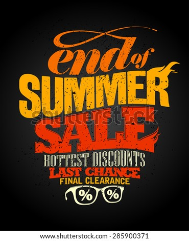 End of summer sale design, final clearance. - stock vector