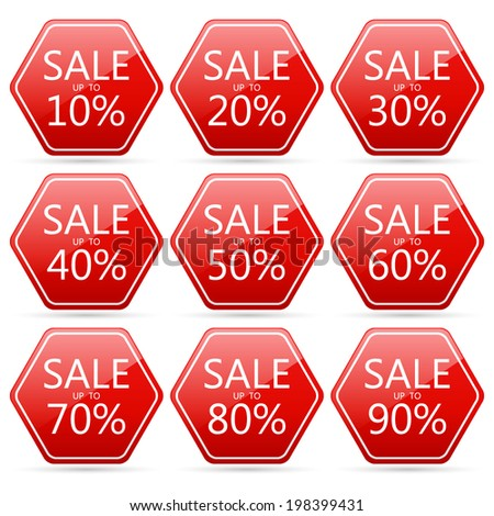 end of year sale 10,20,30,40,50,60,70,80,90 percent on hexagon red label set (vector)