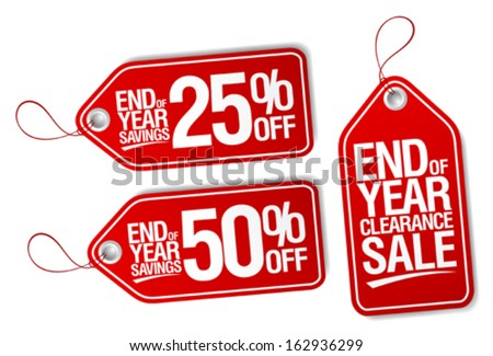 End of year sale savings labels set. - stock vector