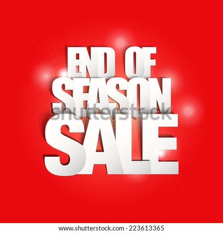 End Season Sale Paper Folding Design  - stock vector