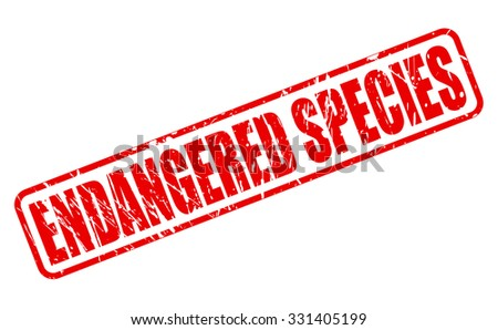 ENDANGERED SPECIES red stamp text on white - stock vector