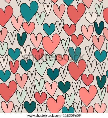Endless bright abstract love pattern. Cute cartoon backdrop with hand drawn hearts. Textile surface texture. - stock vector