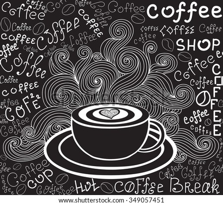 "Endless food vector texture with coffee cup, curls and words ""Coffee"" handwritten by chalk on grey board. Food and drink vector seamless pattern - stock vector"