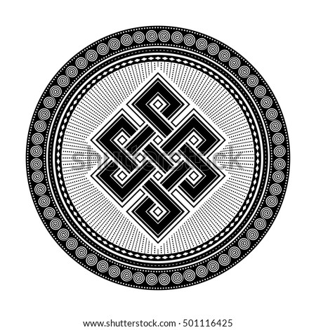 Endless knot, a black and white vector illustration with one of cultural symbol of buddhism endless knot