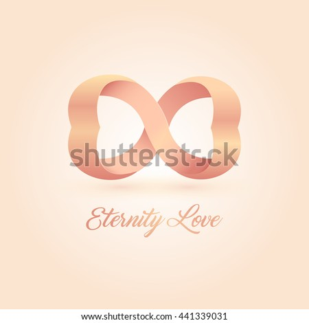 Endless love vector logo. Wedding illustration. Pink connected hearts. Eternity isolated symbol. Unusual romantic design logotype on the pink background.  - stock vector