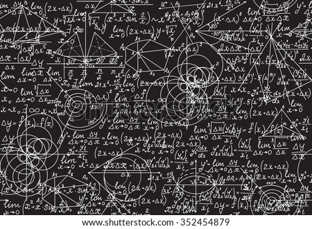 Endless mathematical texture with geometrical figures, equations and calculations, handwritten with chalk on a grey blackboard, shuffled together. Mathematical vector seamless pattern - stock vector