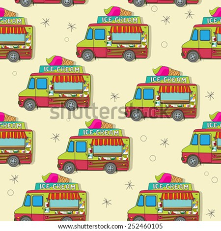 Endless pattern with cartoon ice cream trucks