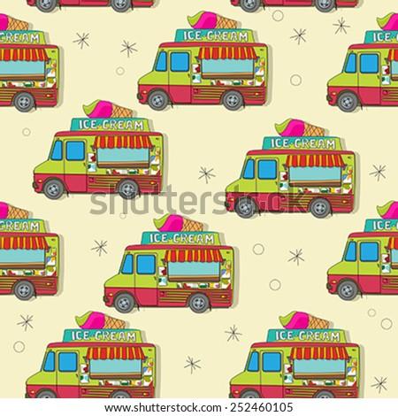 Endless pattern with cartoon ice cream trucks - stock vector