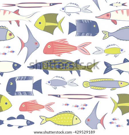 Endless pattern with colorful marine fish. Seamless texture. Stock vector - stock vector