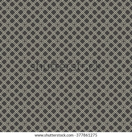 Endless seamless pattern. Modern stylish texture. Regularly repeating geometrical grid with rhombuses, crosses. Vector abstract seamless background  - stock vector
