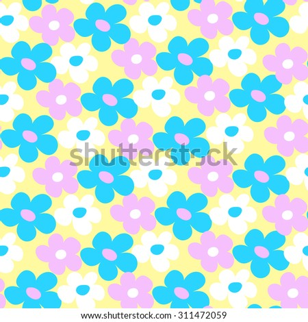 Endless simple floral pattern. Seamless texture. Cute pastel flowers - stock vector