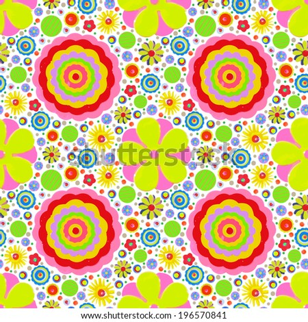 Endless, summer flowers pattern, made of acrylic, watercolor, handmade, from original canvas art. Grunge paint texture with brush stroke effect. 3d shadows. Vector.