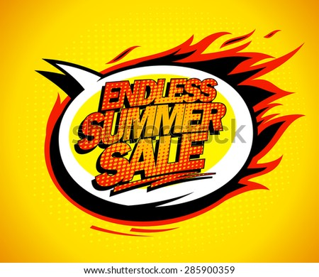 Endless summer sale pop-art speech bubble - stock vector