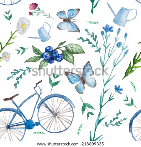Endless summer.Watercolor seamless pattern with bycicle, herbs and flowers, butterfly, blueberry and garden watering can. Vector illustration. - stock vector