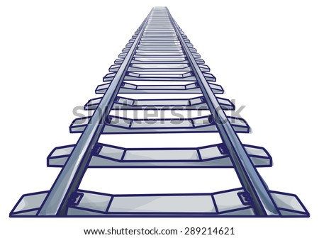 Endless train track. Perspective view of straight Train track. Blue colored and outlines.  - stock vector