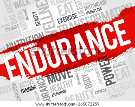 ENDURANCE word cloud, fitness, sport, health concept - stock vector