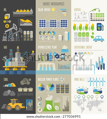Energy and ecology Infographics with charts and other elements. - stock vector