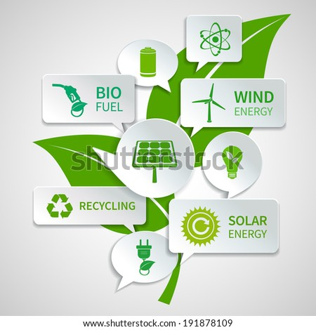 Energy and ecology paper speech bubbles business infographics design elements with green leaf background concept vector illustration