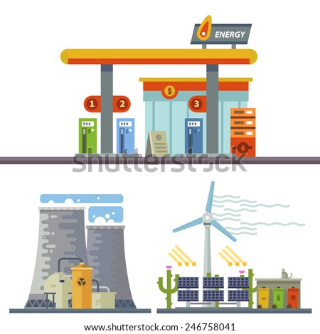 Energy and Gas Station. Urban and village landscape. Ecology. Vector flat illustration - stock vector