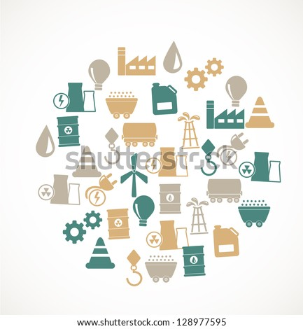 Energy and industry icons - stock vector