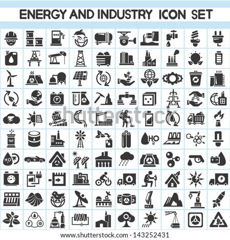 energy and industry icons set, go green icons - stock vector