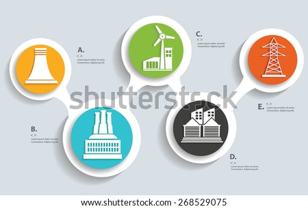 Energy and industry on buttons, info graphic design,clean vector - stock vector