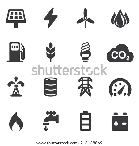 Energy and Industry Silhouette icons | EPS10 - stock vector