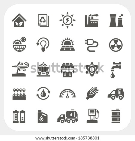 Energy and Power icons set - stock vector