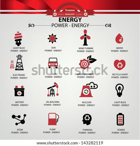 Energy and power icons,vector - stock vector