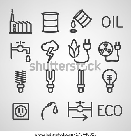 Energy and resource icon set. Vector illustration - stock vector