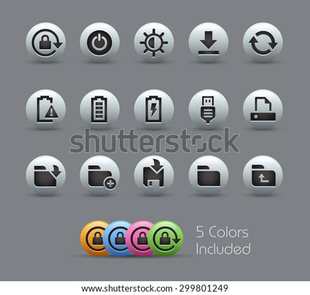 Energy and Storage Icons // Pearly Series ----- The Vector file includes 5 color versions for each icon in different layers ----- - stock vector