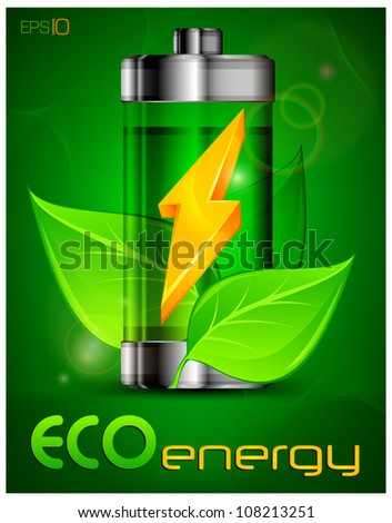 Energy battery with green leaves, ecology concept, vector illustration - stock vector