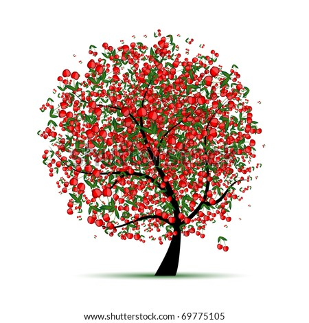 Energy cherry tree for your design - stock vector