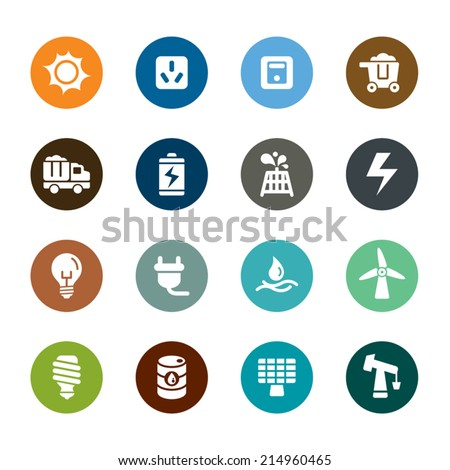 Energy Color Icons - stock vector