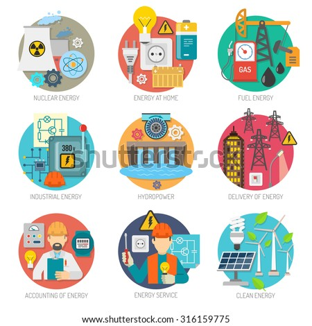 Energy  concept flat round icons composition collection of clean power generation and transmission abstract vector isolated illustration - stock vector