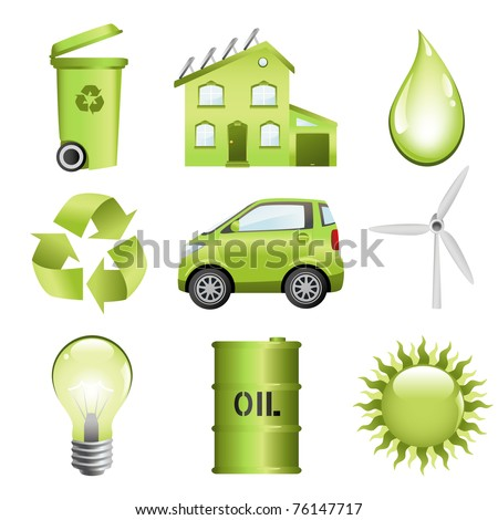 Energy conservation computer icon set. Vector file included. - stock vector