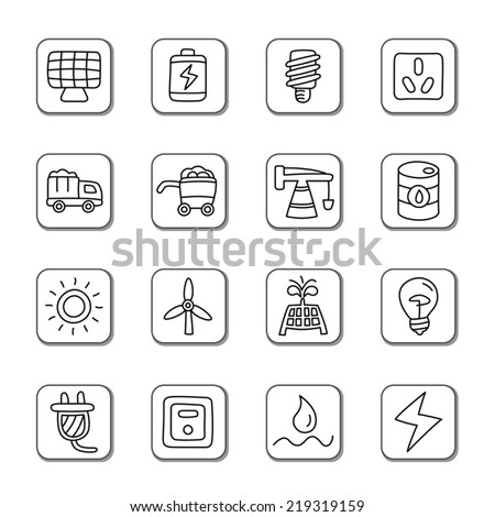 Energy Doodle Icons - stock vector