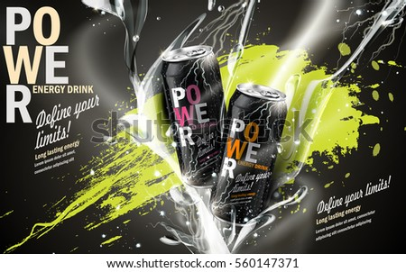 energy drink contained in two kinds of metal cans with refreshing breath elements and spilled paints, gray background