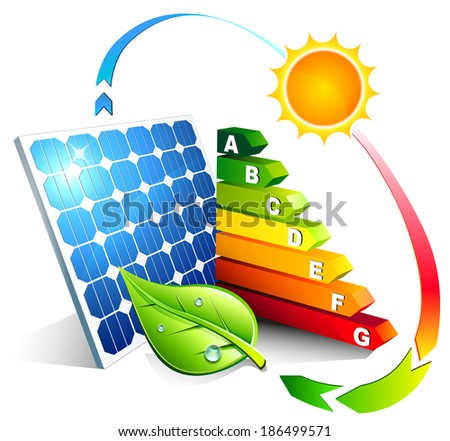 energy efficiency of the photovoltaic  - stock vector